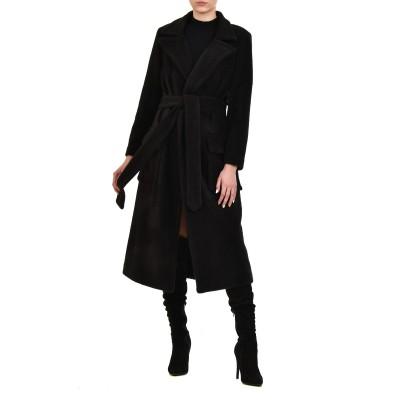 Vener Coat Fleecy Long & Tie-Black