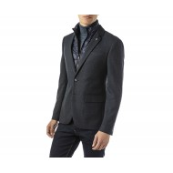 Sogo Blazer Checked With Removable Vest-Anthracite/Blue