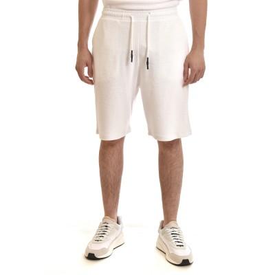 Indeed Sweatshorts With Microfiber Pattern-White