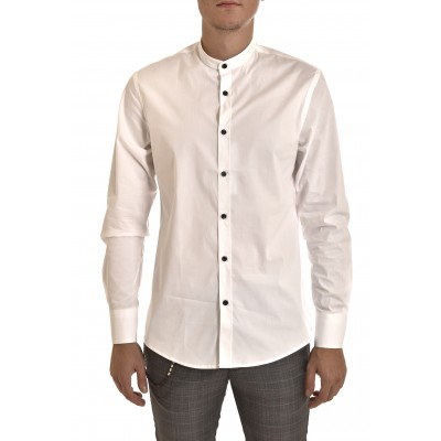Vittorio Shirt Mao Collar-White