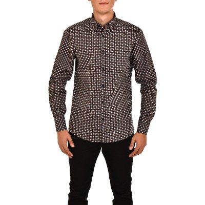 Vittorio Shirt Colorful Balls Pattern-Black