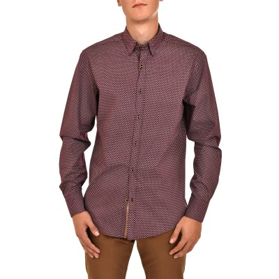 Vittorio Shirt Dots Pattern-Bordeaux