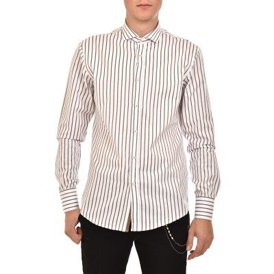 Vittorio Shirt Striped-White/DK Beige