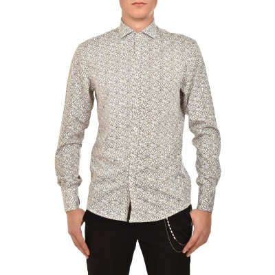 Vittorio Shirt Patterned-White/Kaki