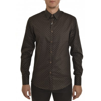 Vittorio Shirt Printed Micro-pattern-Dark Green