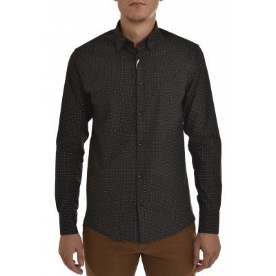 Vittorio Shirt Micro-pattern Dots-Black