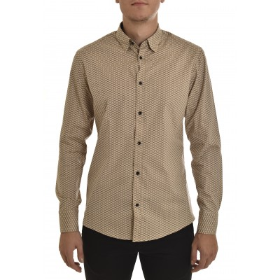 Vittorio Shirt Patterned Hive-Beige