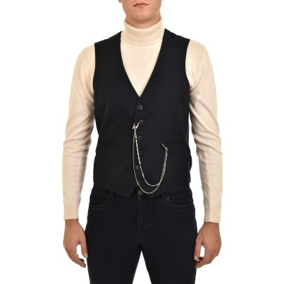 Sogo Vest Checked Removable Chain-DK Blue/Black