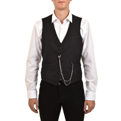 Sogo Vest Checked Removable Chain-Amthracite/Black
