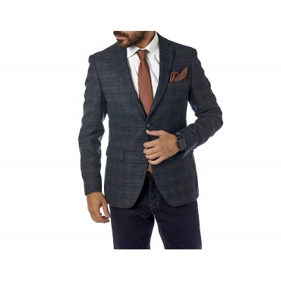 Sogo Blazer Checked Brown Regular-Blue