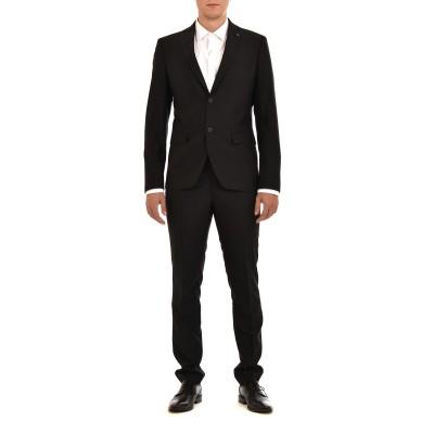 Sogo Suit Checked Slim Fit-Black