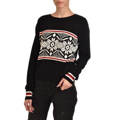 Twenty-29 Knitted Blouse Geometry-Black