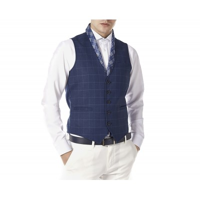 Sogo Vest Checkered With Chain-Blue