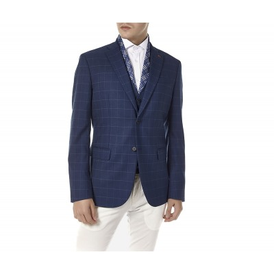 Sogo Blazer Checkered-Blue