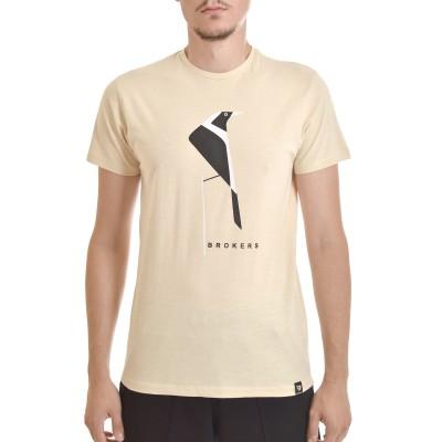 Brokers T-Shirt With Bird Print-Ecru