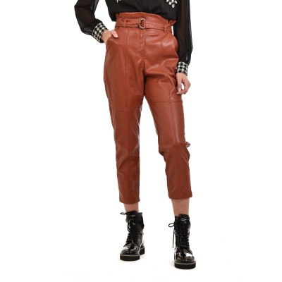 Twenty-29 Trousers Faux Leather With Belt-Rust