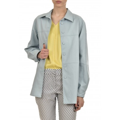Twenty-29 Shirt Faux Leather-Light Blue