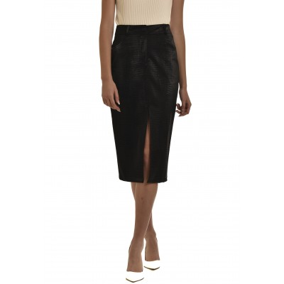 Twenty-29 Skirt Pencil Front Slit Faux Leather-Black