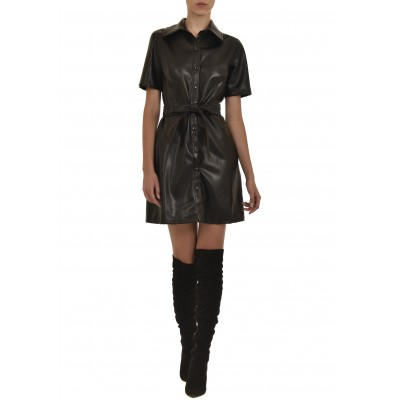 Twenty-29 Dresss Semizie Faux Leather-Black