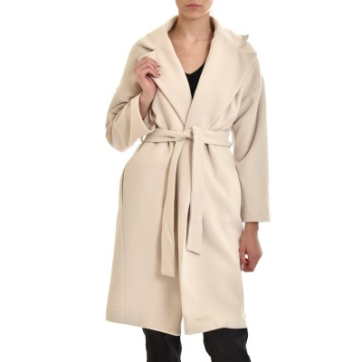 Twenty-29 Coat With Lapel & Belt-Beige