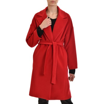 Twenty-29 Coat With Lapel & Belt-Red