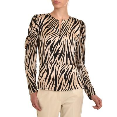 Twenty-29 Blouse Baska Satin Zebra Pattern-Ecru/Black