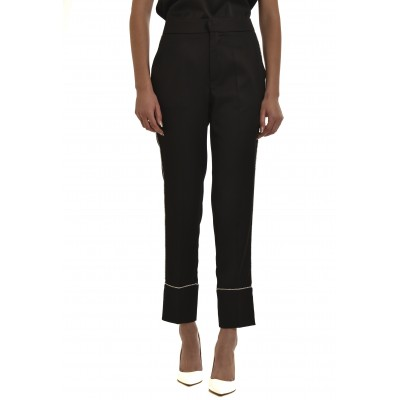 Twenty-29 Trousers Satin With Strass-Black