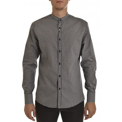 Vittorio Shirt Mao Collar Checked-White/Black