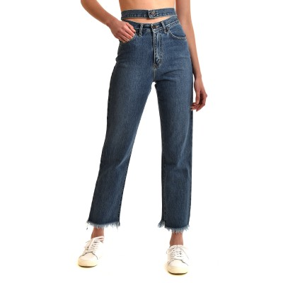 Sac & Co Jeans Double Belt-Mid Blue