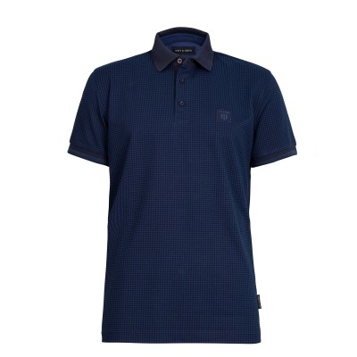 Navy & Green Polo Pied De Poule Young Line-Blue/Raf