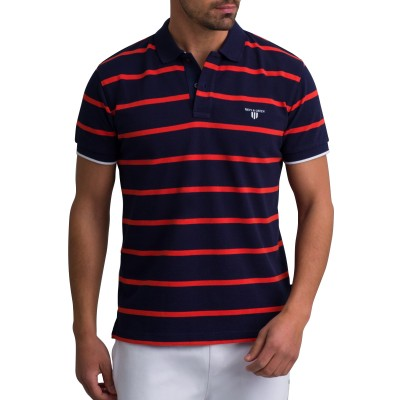 Navy & Green Polo Striped-NT Blue/Burnt Orange