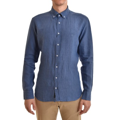 Navy & Green Shirt Pure Linen Comfort Fit-Night Blue