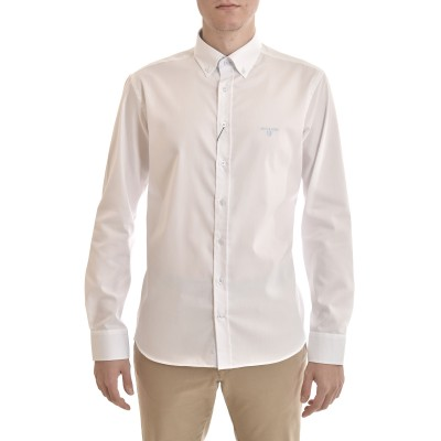 Navy & Green Shirt Comfort Fit Wrinkle Free-White