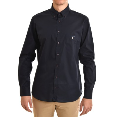 Navy & Green Shirt Comfort Fit Stretch-Dark Blue