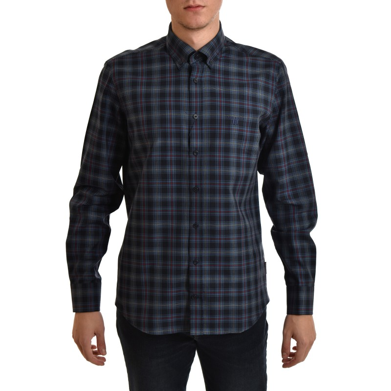 Navy & Green Shirt Checked Comfort Fit-LT Blue/Navy/Burgundy