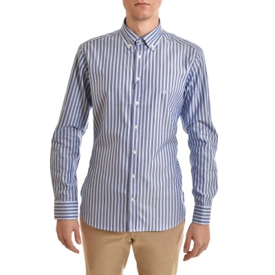 Navy & Green Shirt Striped Comfort Fit Two Ply-Blue/Sky Blue