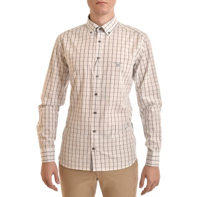 Navy & Green Shirt Checked Comfort Fit-White/Blue F
