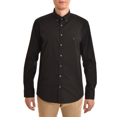 Navy & Green Shirt Comfort Fit Strech-Black