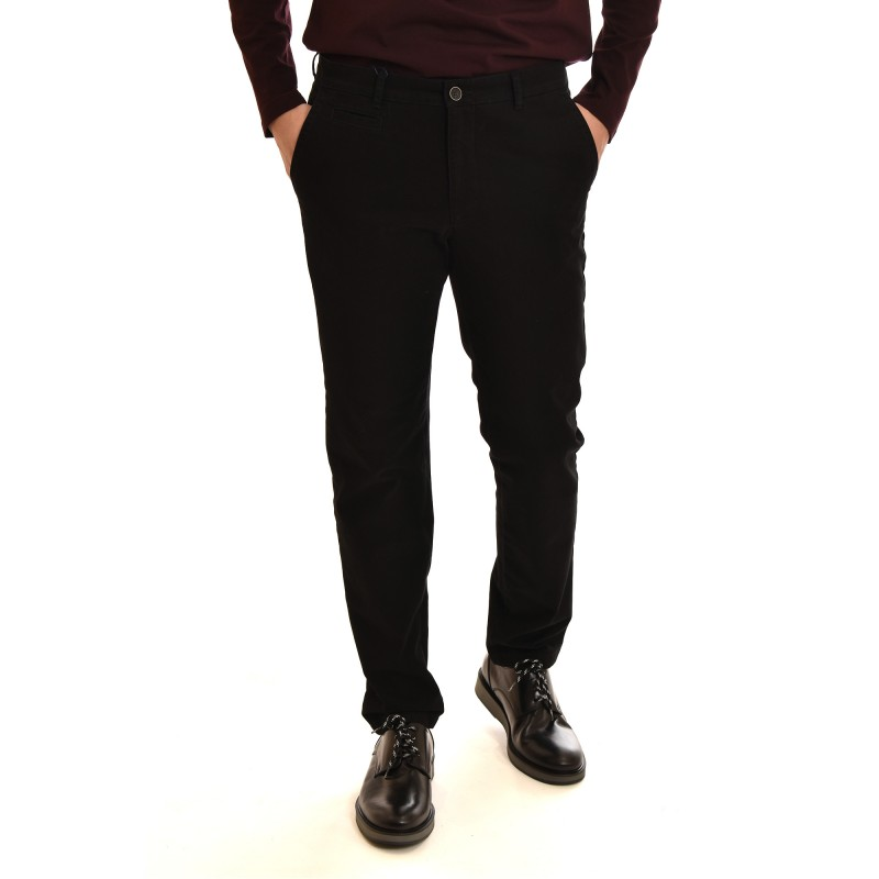 Navy & Green Pants Modern Fit-Black