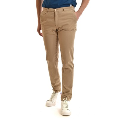 Navy & Green Chino Pants-Beige A