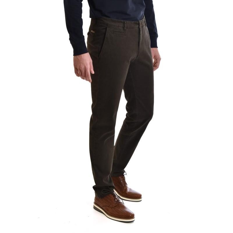 Navy & Green Pants Modern Fit-Dark Olive
