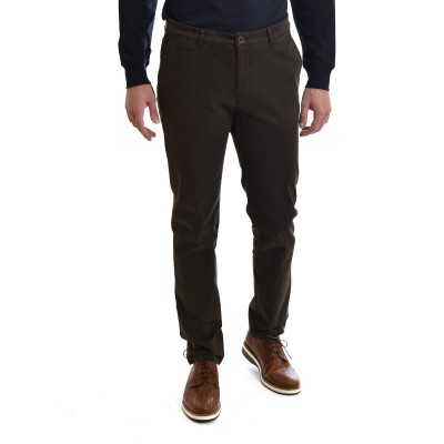 Navy & Green Pants Modern Fit-Dark Olive
