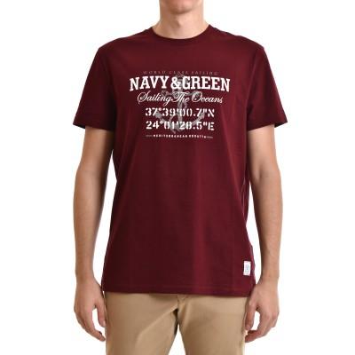 Navy & Green T-Shirt-DK Bordeaux