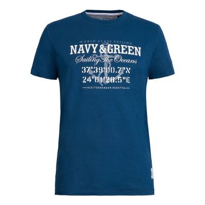Navy & Green T-Shirt-DK Petrol