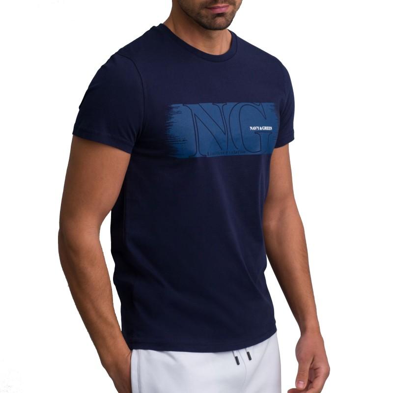 Navy & Green T-Shirt Crewneck With Print-MD Blue