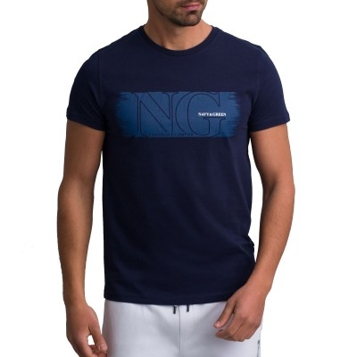 Navy & Green T-Shirt Crewneck With Print-MD Blue