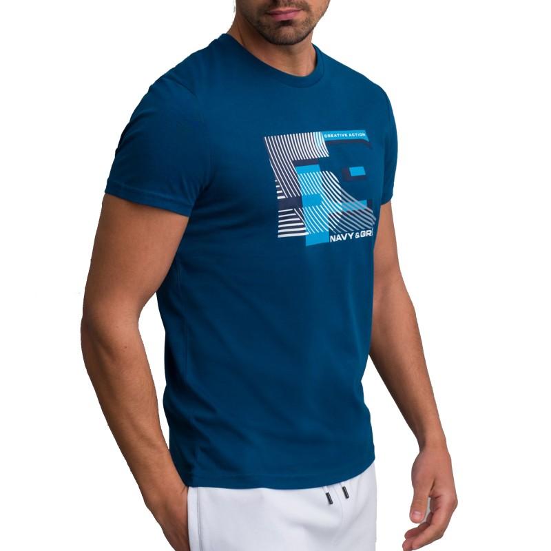 Navy & Green T-Shirt Crewnenk-DK Petrol