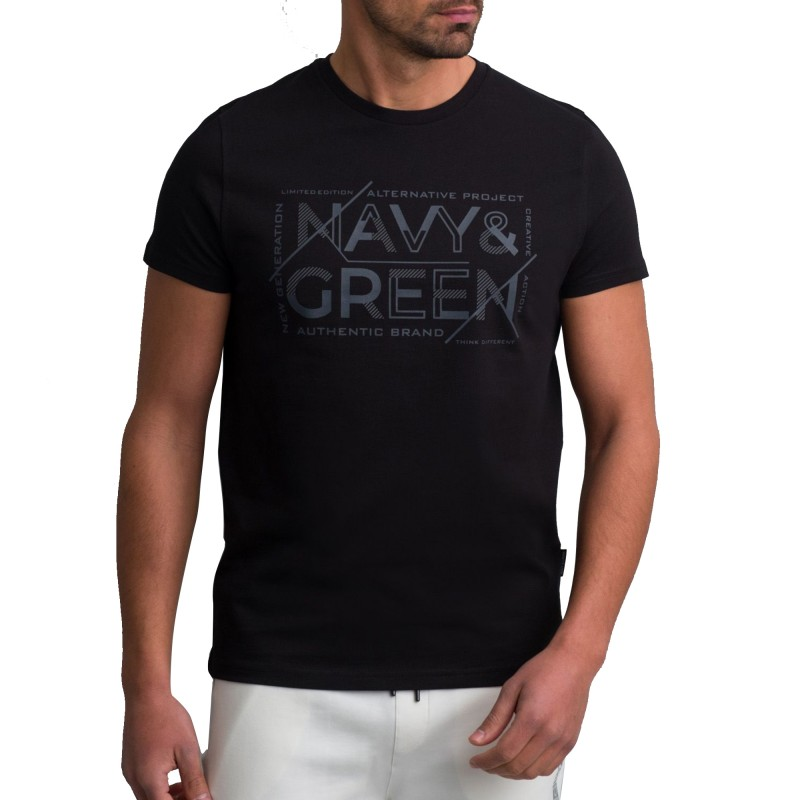 Navy & Green T-Shirt Crewnenk With Print-Black