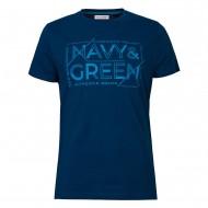 Navy & Green T-Shirt Crewnenk With Print-DK Petrol