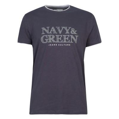 Navy & Green T-Shirt With Logo Print-Grey/Blue